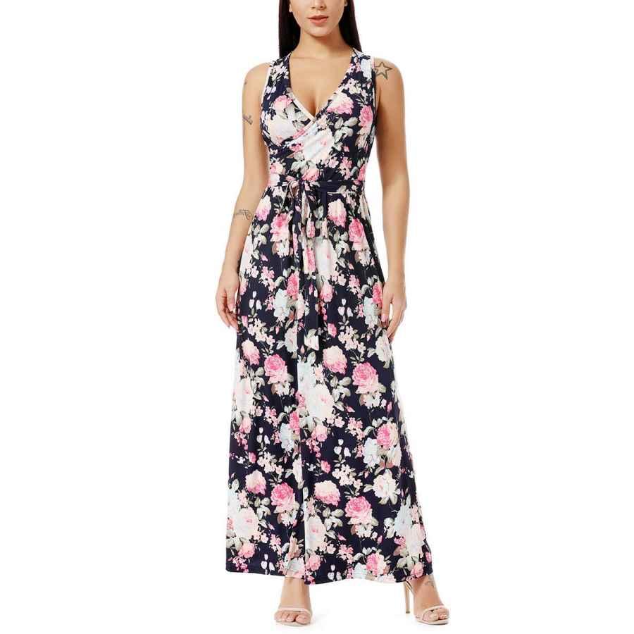 Womens Casual Dresses Vepkul Womens Sexy Cross Wrap V Neck Sleeveless Long Sleeve High Waist Floral Plain Long Maxi Dresses