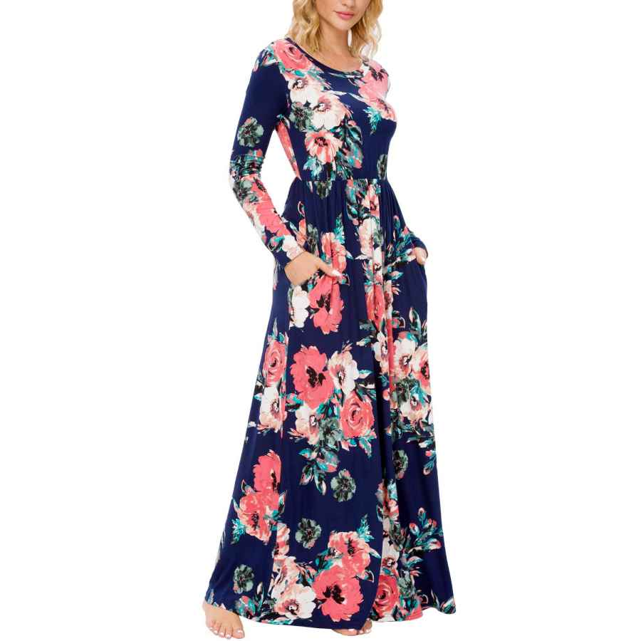 Womens Casual Dresses Lainab Fall Women's Casual Floral Long Sleeve Long Maxi Dress With Pockets