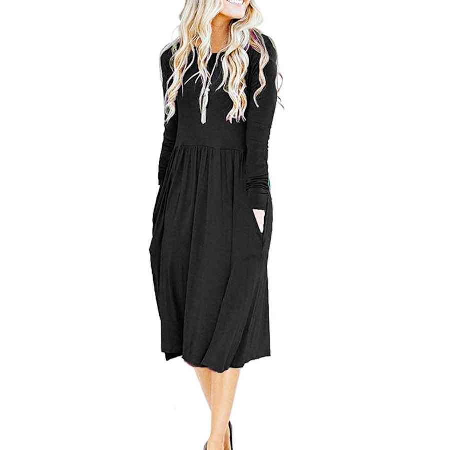 Womens Casual Dresses Misfay Women's Long Sleeve Pockets Empire Waist Pleated Loose Swing Casual Flare Midi Dress