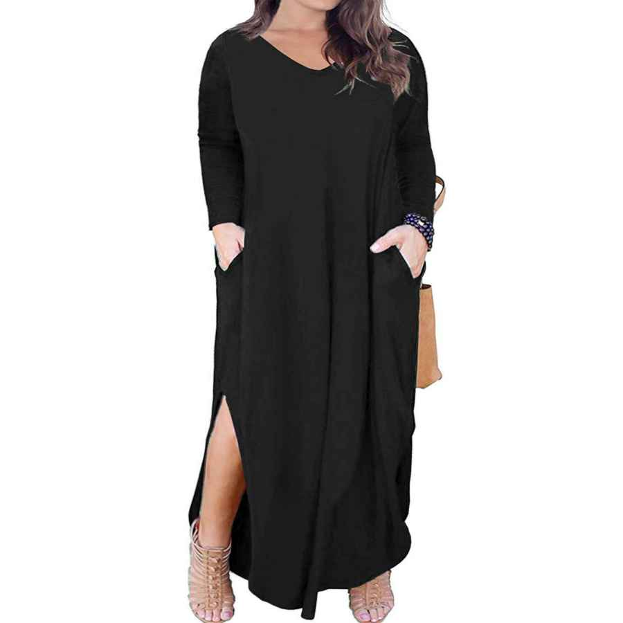 Womens Casual Dresses Vograce Women's Plus Size Maxi Dresses Long Sleeve Casual Loose Split Long Dresses