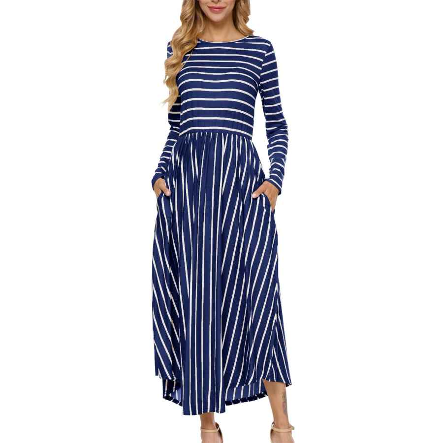 Womens Casual Dresses Levaca Women's Casual Long Sleeve Loose Striped Long Maxi Dress With Pockets
