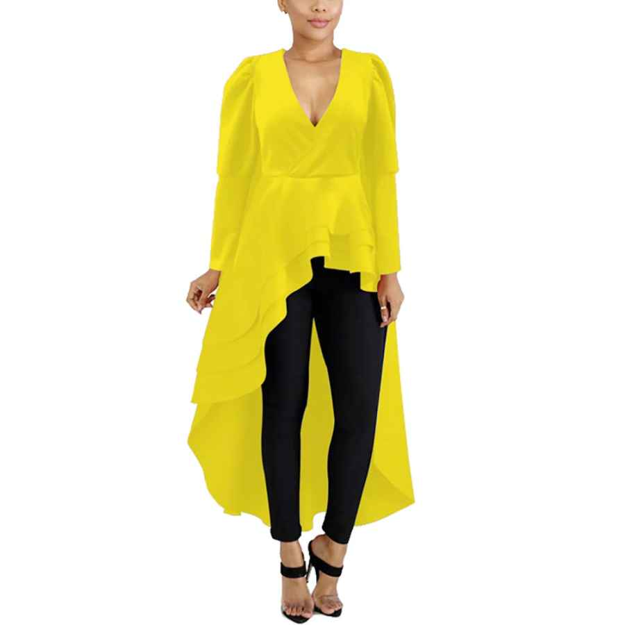 Womens Casual Dresses Halfword High Low Tops For Women - Asymmetrical Peplum Shirt Long Sleeve Maxi Dresses