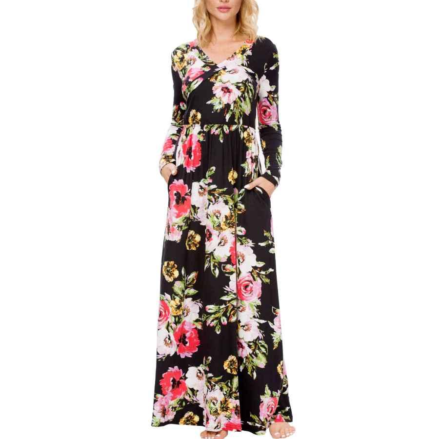 Womens Casual Dresses Lainab Women's Floral Fall Long Sleeve Pockets Casual Long Maxi Wrap Dress