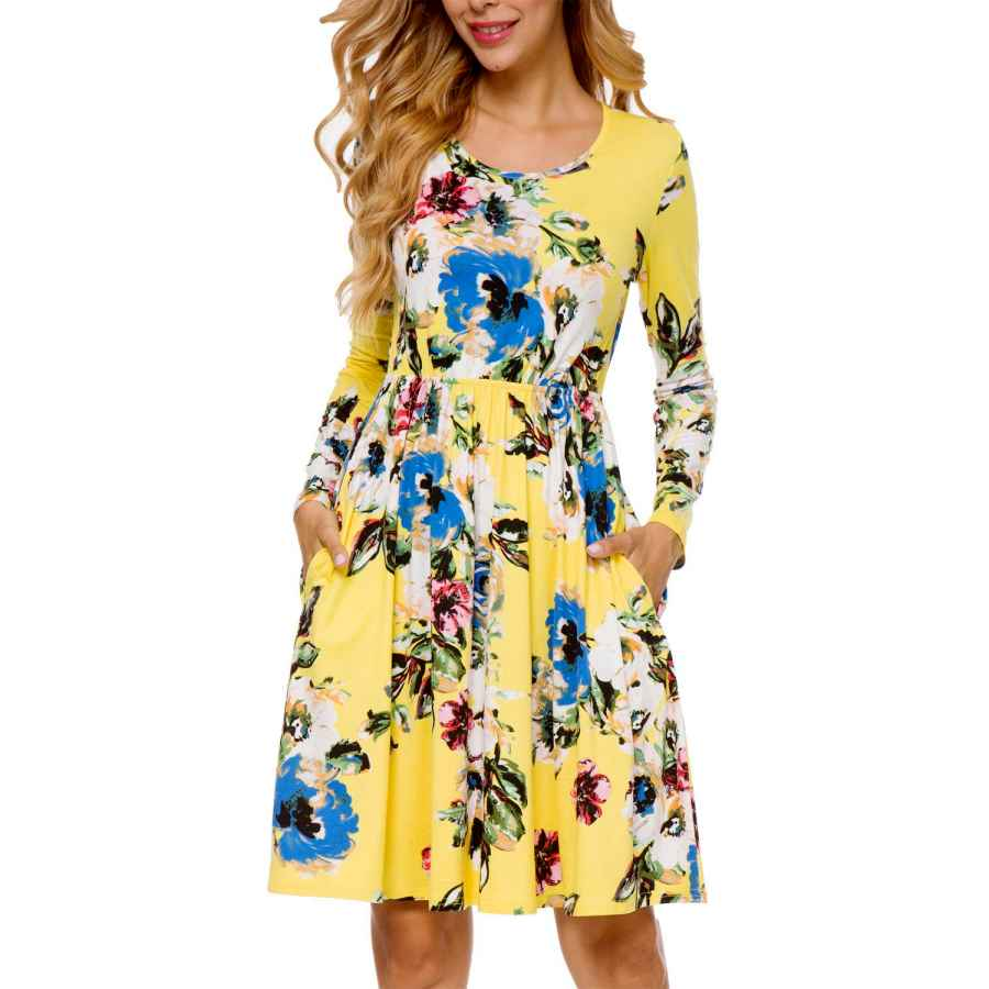 Womens Casual Dresses Lainab Women's Casual Floral Fall Long Sleeve Tunic Short Dress With Pockets