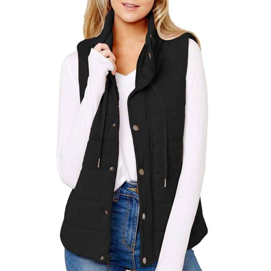 Reachme Womens Quilted Vest With Hood Zip Up Padded Vest Sleeveless Puffer Jacket With Pockets
