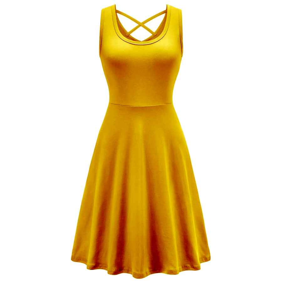 Womens Casual Dresses Vobcty Womens Casual Cotton V Criss Cross Back Sleeveless Dress