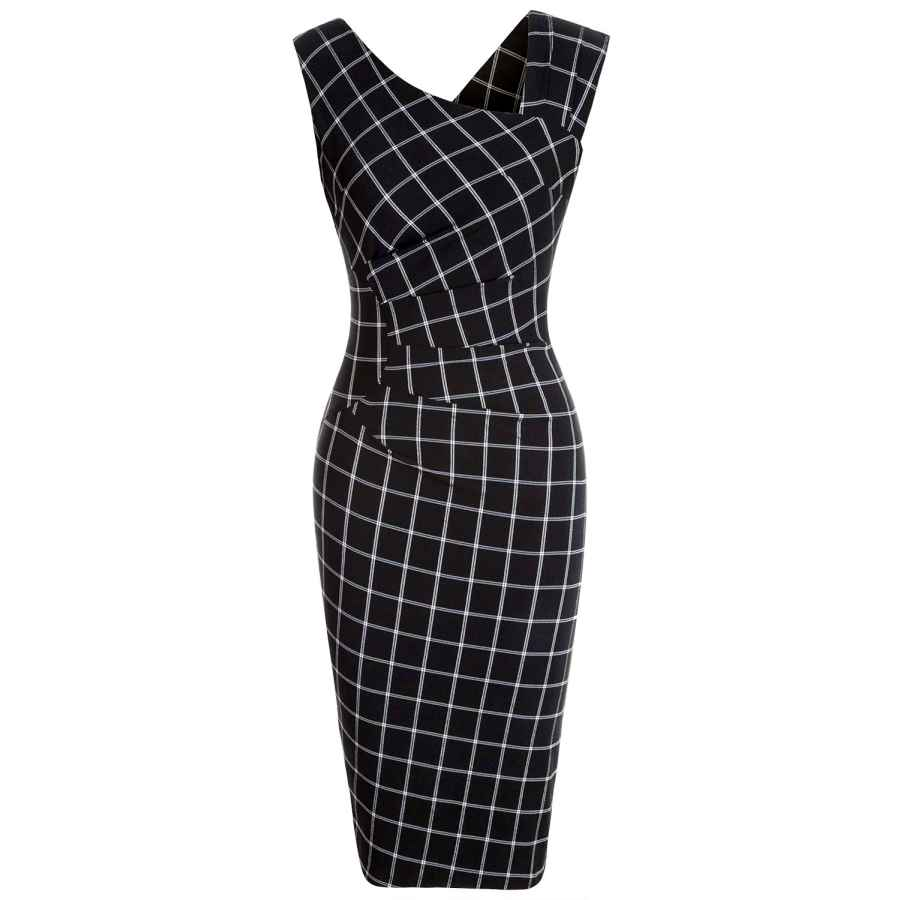 Womens Casual Dresses Muxxn Women's Vintage Style Sleeveless Plaid Pattern Work Pencil Dress