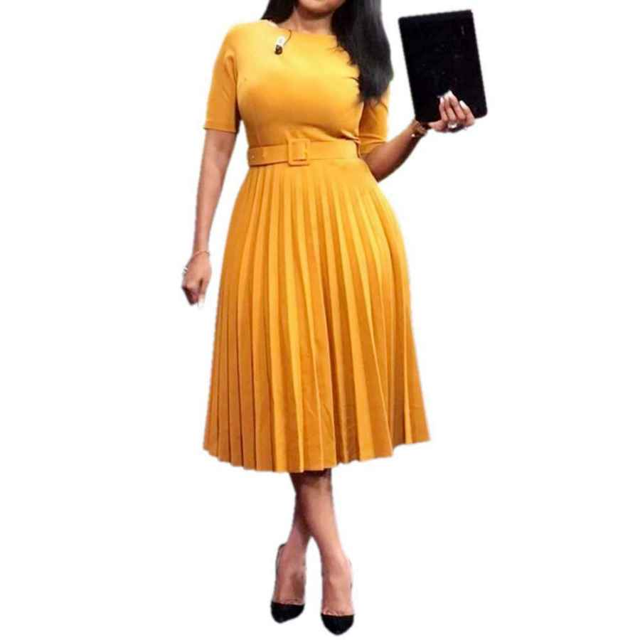 Womens Casual Dresses Verwin Short Sleeve Round Neck Women's Maxi Dress Pleated Plain Belt Dress