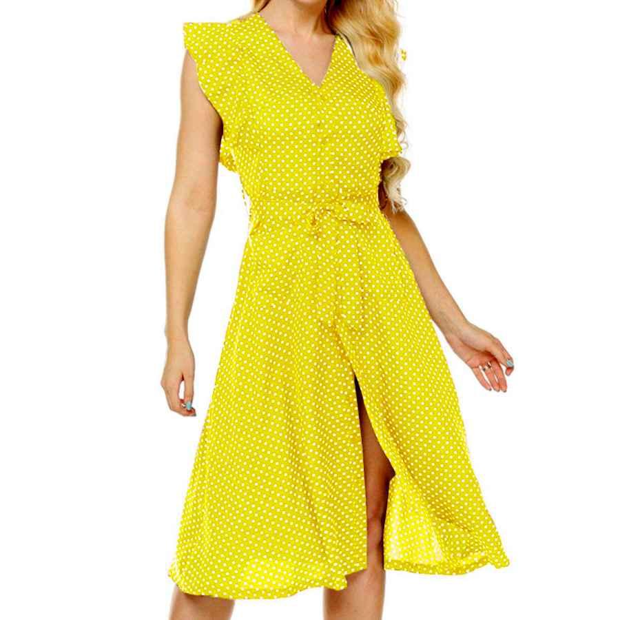 Womens Casual Dresses Omsj Womens Cute Dresses Polka Dot Swing Midi Dress With Pockets