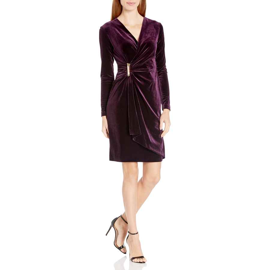 Womens Casual Dresses Calvin Klein Women's Velvet Long Sleeve Faux Wrap Dress
