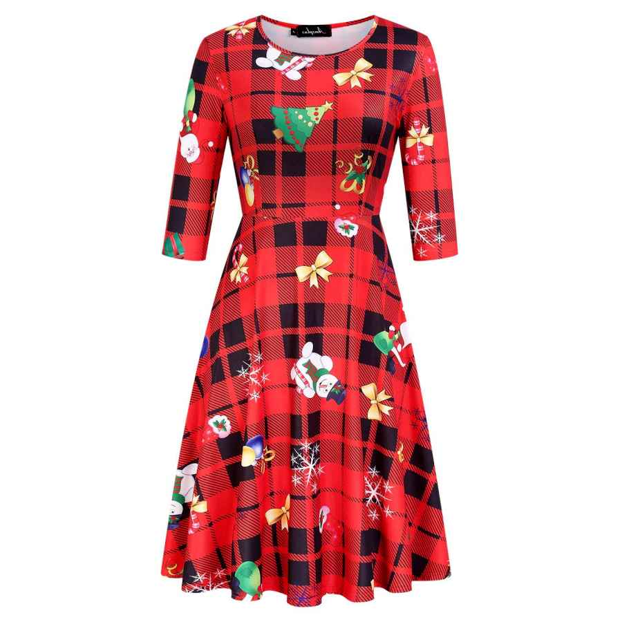 Womens Casual Dresses Women Ugly Christmas Xmas Dress Plus Size 3/4 Sleeve Casual Aline Party Dress