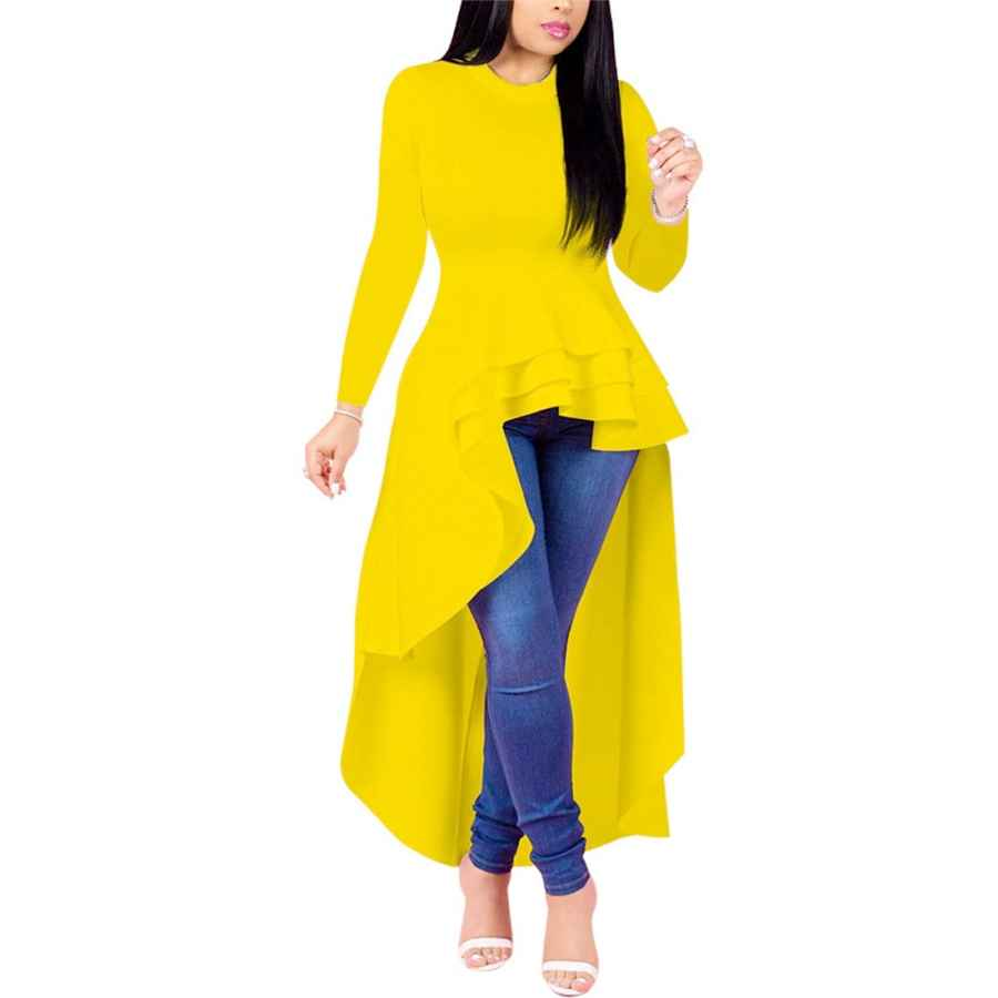 Womens Casual Dresses Mintsnow Women Elegant Ruffle High Low Cocktail Dresses Long Sleeve Asymmetrical Bodycon Tunic Peplum Tops