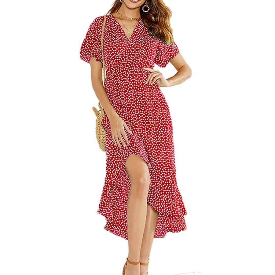 Womens Casual Dresses Rovlet Women's Bohemian Floral Printed Chiffon Wrap V Neck Short Sleeve Split Beach Party Maxi Dress