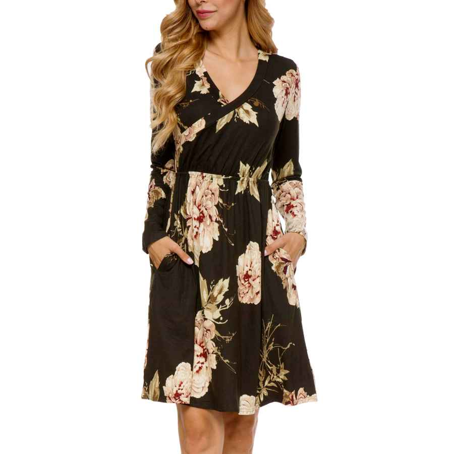 Womens Casual Dresses Simier Fariry Womens Long Sleeve Floral Pockets Casual Tunic T Shirt Wrap Dress