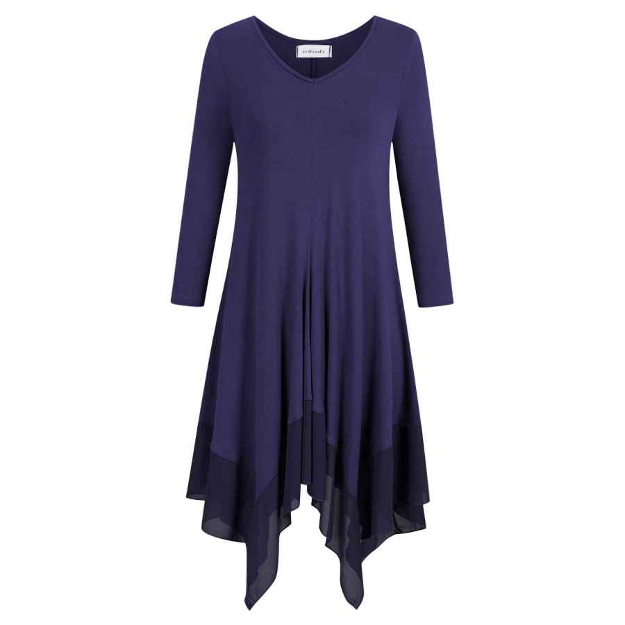Womens Casual Dresses Clearlove Womens Long Sleeve Plus Size V Neck Chiffon Stitched Loose Midi Dress