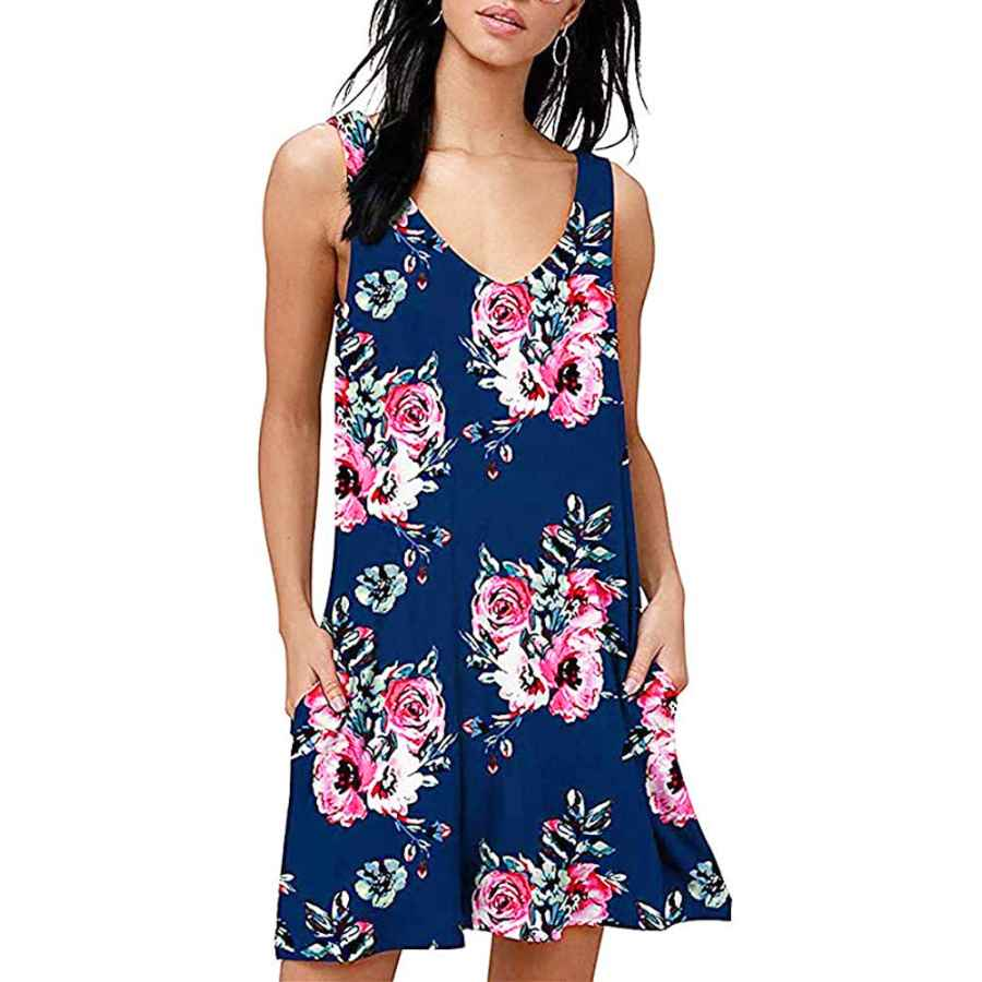 Womens Casual Dresses Tshirt Dresses For Women Summer Beach Boho Sleeveless Floral Sundress Pockets Swing Casual Loose Cover Up