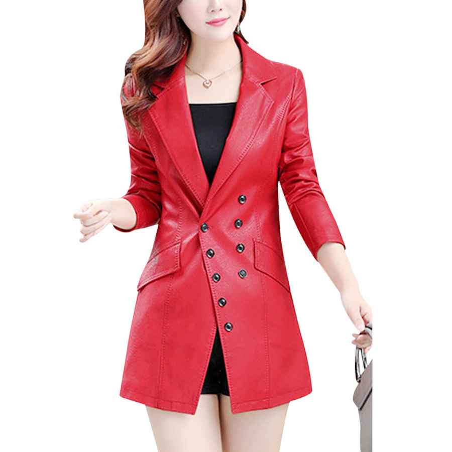 Tanming Women's Button Front Faux Leather Blazer Coat Jacket