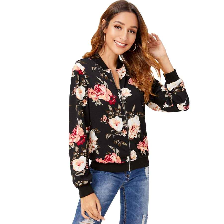 Shein Women's Ring Zip Up Floral Print Stand Collar Baseball Bomber Jacket
