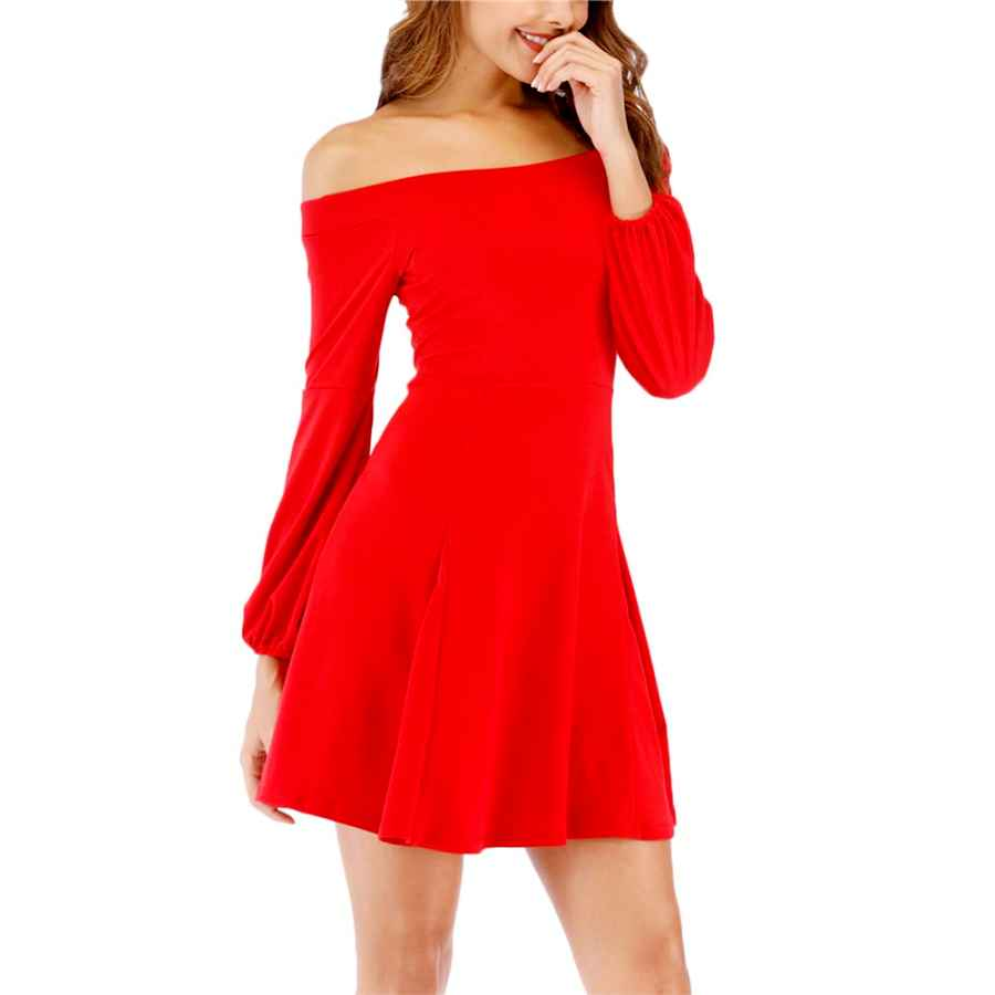 Womens Casual Dresses Women's Off Shoulder Long Sleeve Casual Loose Swing Party Dress