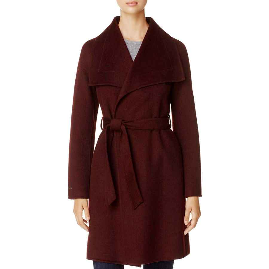 T Tahari Ellie Women's Double Face Shawl Collar Wool Wrap Coat