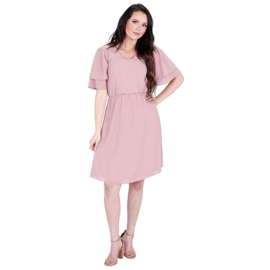 Womens Casual Dresses Mikarose Women's Claire Modest V-Neck Tiered Flutter-Sleeve Chiffon Dress