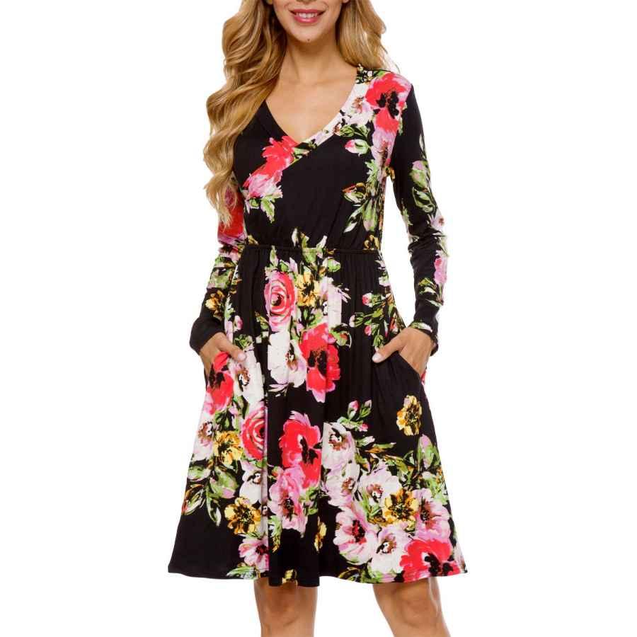 Womens Casual Dresses Lainab Women's Floral Fall Long Sleeve Pockets Casual Tunic T Shirt Dress