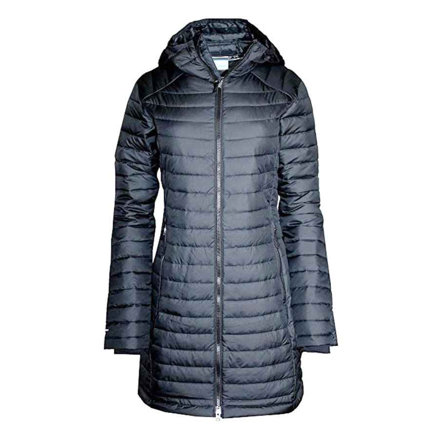 Columbia Women's White Out Mid Omni Heat Long Hooded Light Jacket Coat Puffer Plus/Regular