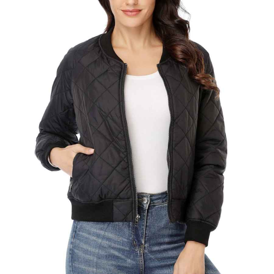 Dilgul Women's Quilted Bomber Jacket Long Sleeves Zip Up Lightweight Black Coat