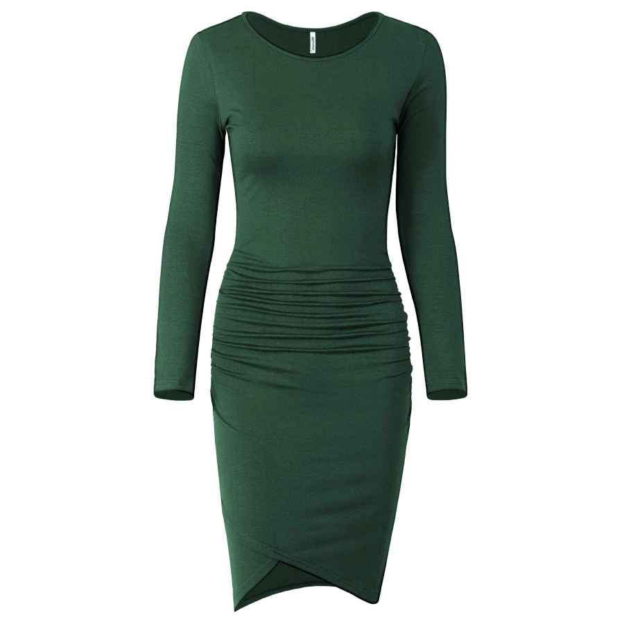 Womens Casual Dresses Missufe Women's Casual Long Sleeve Ruched Bodycon Sundress Irregular Sheath T Shirt Dress