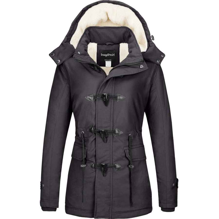 Yxp Women's Winter Thicken Military Parka Jacket Warm Fleece Cotton Coat With Removable Hood