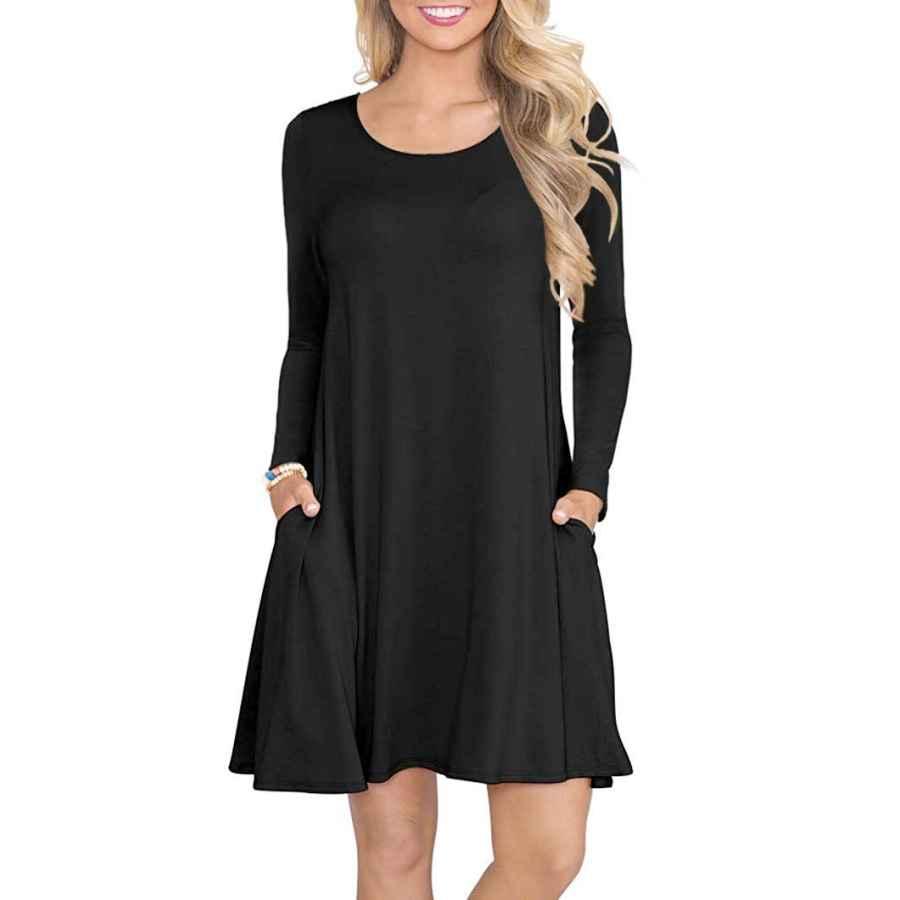 Womens Casual Dresses Wneedu Women's Long Sleeve Tops T-Shirt Dress Round Neck Casual Loose Dress
