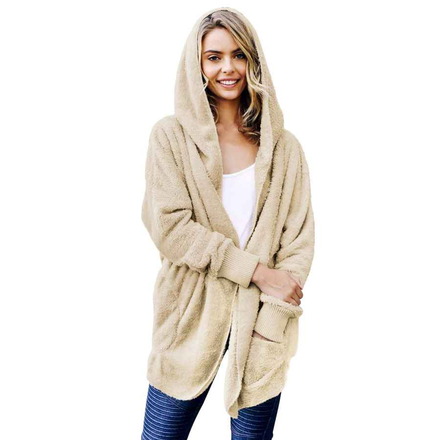 Selowin Women Coat Fleece Fuzzy Faux Sherpa Pocket Winter Cardigan Outwear Jacket