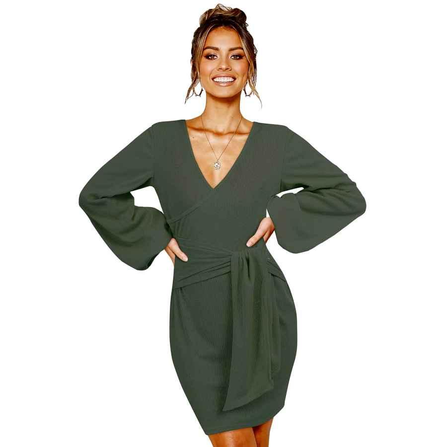 Womens Casual Dresses Solersun Women's Casual Wrap Long Sleeve Elegant Bodycon Tie Waist Sweater Pencil Dresses