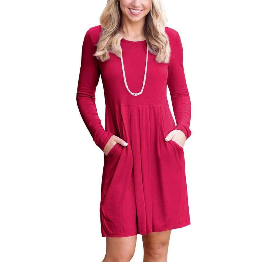 Womens Casual Dresses Igenjun Women's Casual Long Sleeve Pleated Loose Swing Dress With Pockets Knee Length