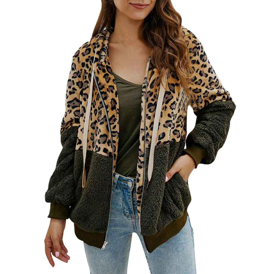 Behkiuoda Women Coat Leopard Print Warm Overcoat Long Sleeve Cardigan Zipper Keep Warm Parka Jacket
