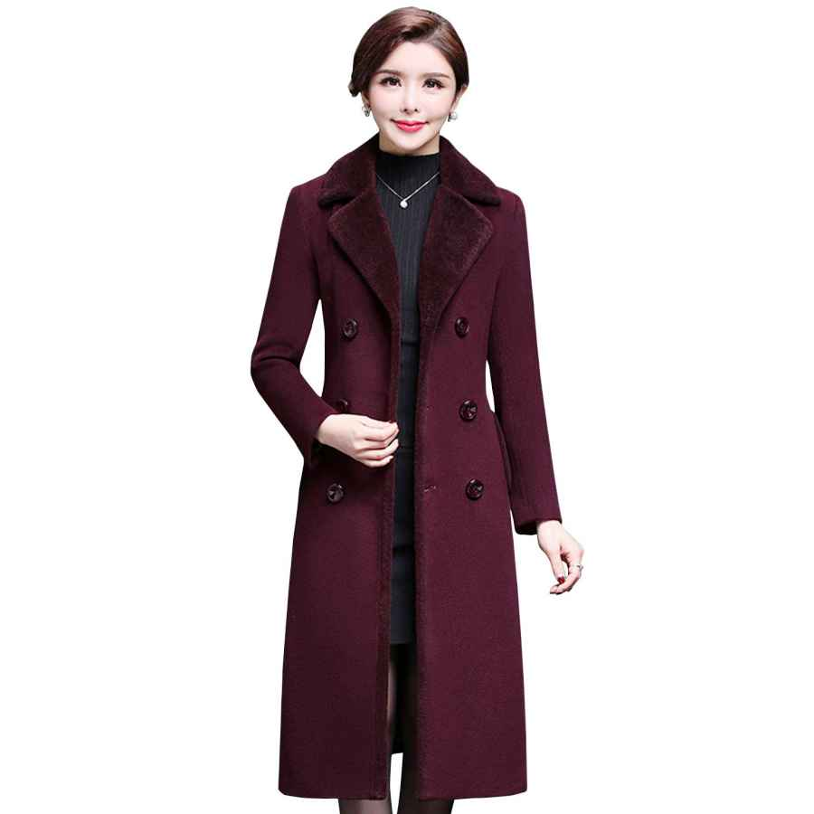 Women's Elegant Notch Lapel Double Breasted Mid-Long Wool Blend Over Pea Coat