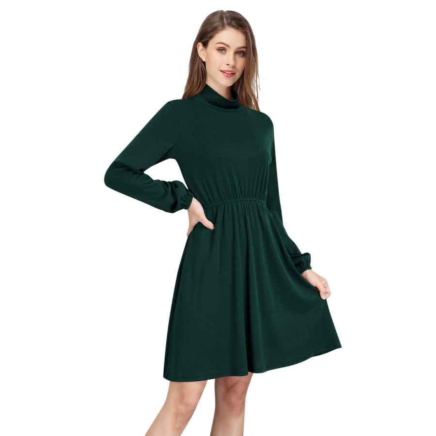 Womens Casual Dresses Glorystar Women Casual Turtleneck Long Sleeve Tunic Flowy Swing T-Shirt A-Line Mini Dress