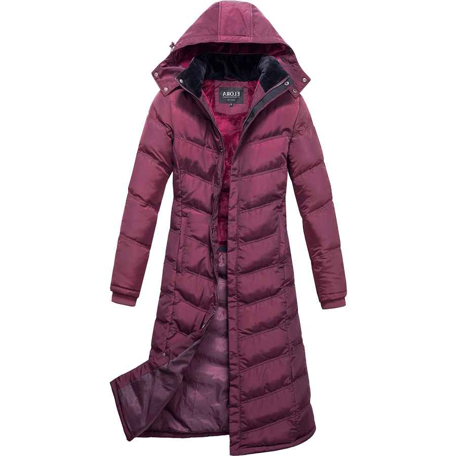 "Elora Women's Heavyweight Winter Full Length 47"" Puffer Coat With Hood And Fleece Lining"