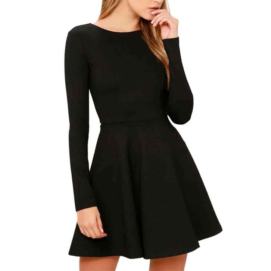 Womens Casual Dresses Jusfitsu Womens Long Sleeve Casual Slim Fit Dress A-Line Simple Dress Medium Length Skirt