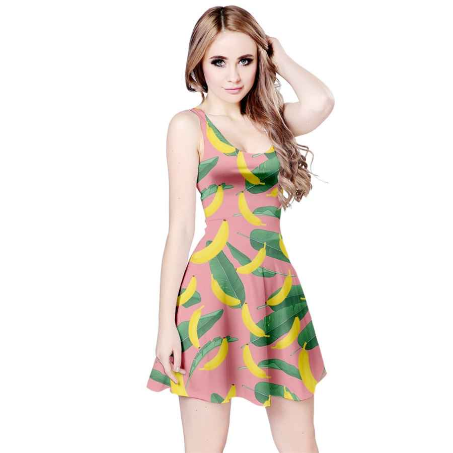 Womens Casual Dresses Cowcow Womens Summer Hawaii Beach Surf Tropical Fruits Toucan Pineapple Banana Strawberry Sleeveless Dress