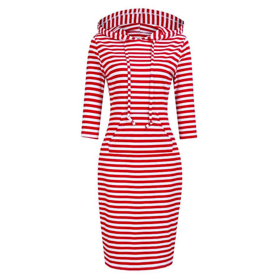 Womens Casual Dresses Clearlove Women 3/4 Sleeve Stripe Pocket Knee Length Slim Pullover Hoodie Dress