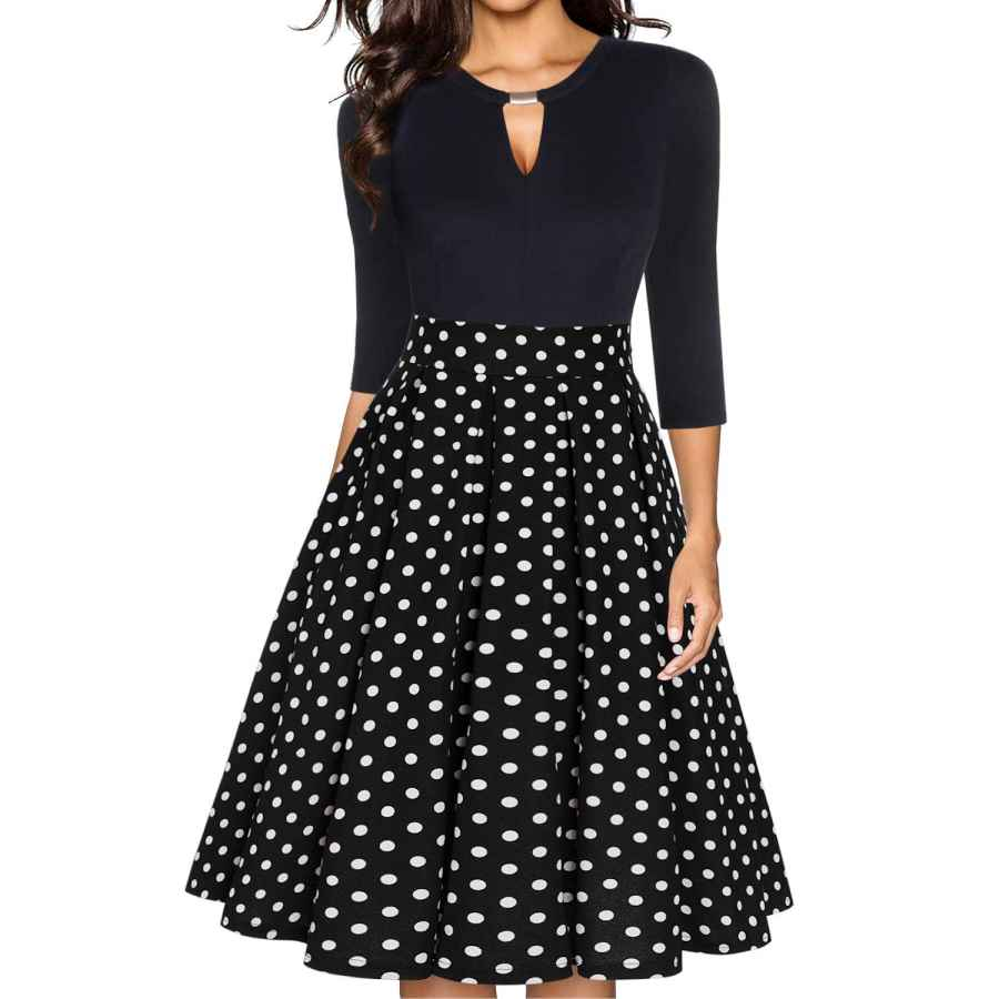 Womens Casual Dresses Ihot Women's Vintage Floral Flared A-Line Swing Casual Party Dresses With Pockets