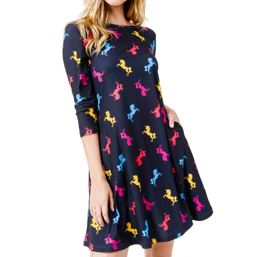 Womens Casual Dresses Women's Printed Crew Neck A-Line Dresses With Pockets Casual Tropical Floral Novelty Animal Christmas Patterns