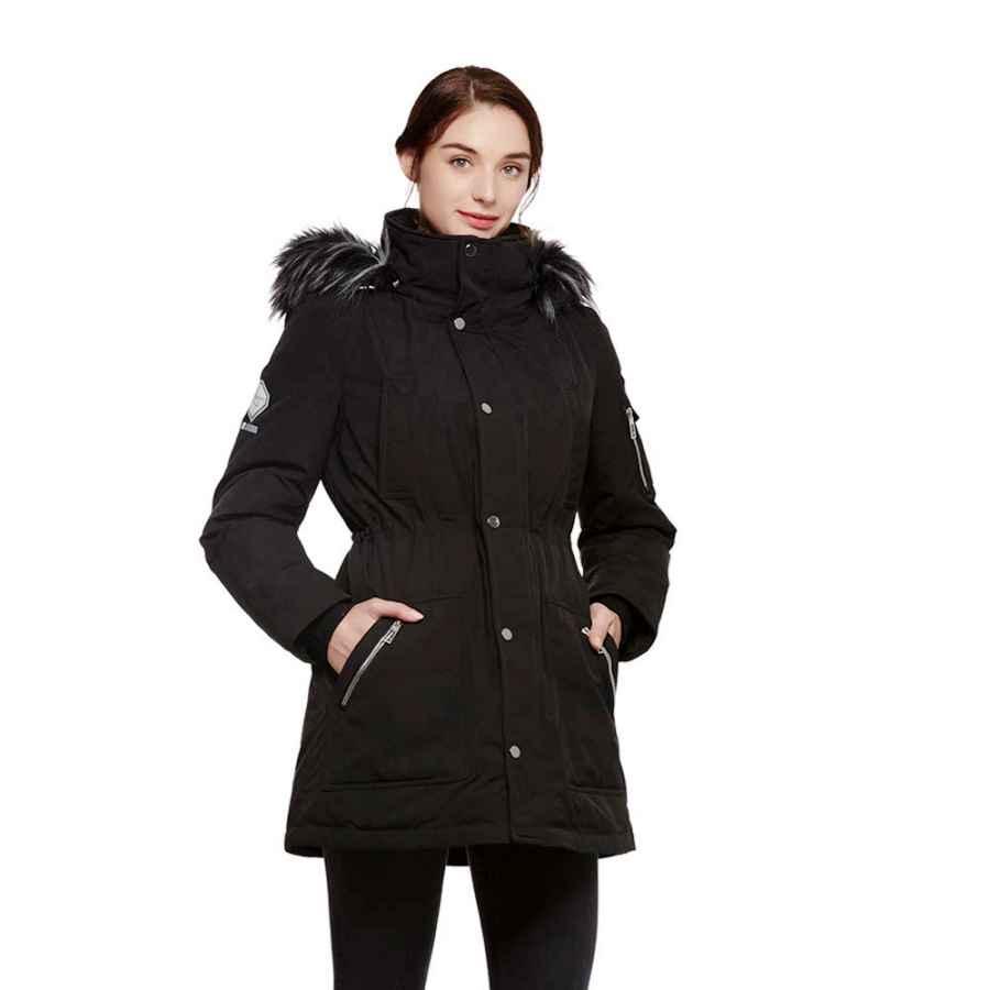 Universo Women's Heavy Duty Down Parka Jacket With Removable Fur Hood Winter Warm Puffer Coat