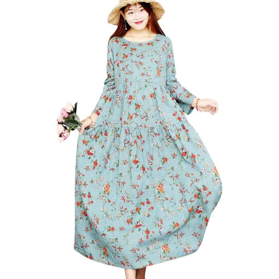 Womens Casual Dresses Women Casual Loose Long Maxi Swing Dress Bohemian Floral Printed Long Sleeve Round Neck/Pockets Ek6