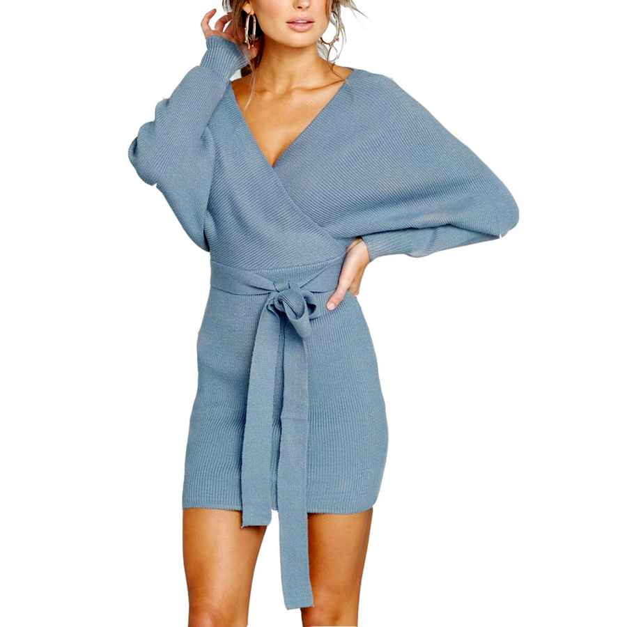 Womens Casual Dresses Yumdo Women's Sweater Dresses Sexy V Neck Backless Batwing Sleeves Bodycon Dress