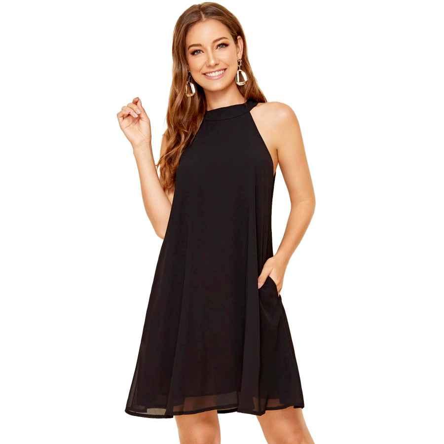 Womens Casual Dresses Floerns Women's Halter Neck Chiffon Tunic Tank Dress T Shirt Dresses