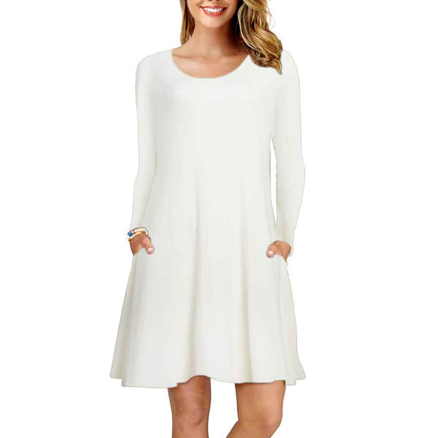 Womens Casual Dresses Fz Fantastic Zone Women's Long Sleeve Winter Casual T-Shirt Dress Round Neck Loose Pockets Dress