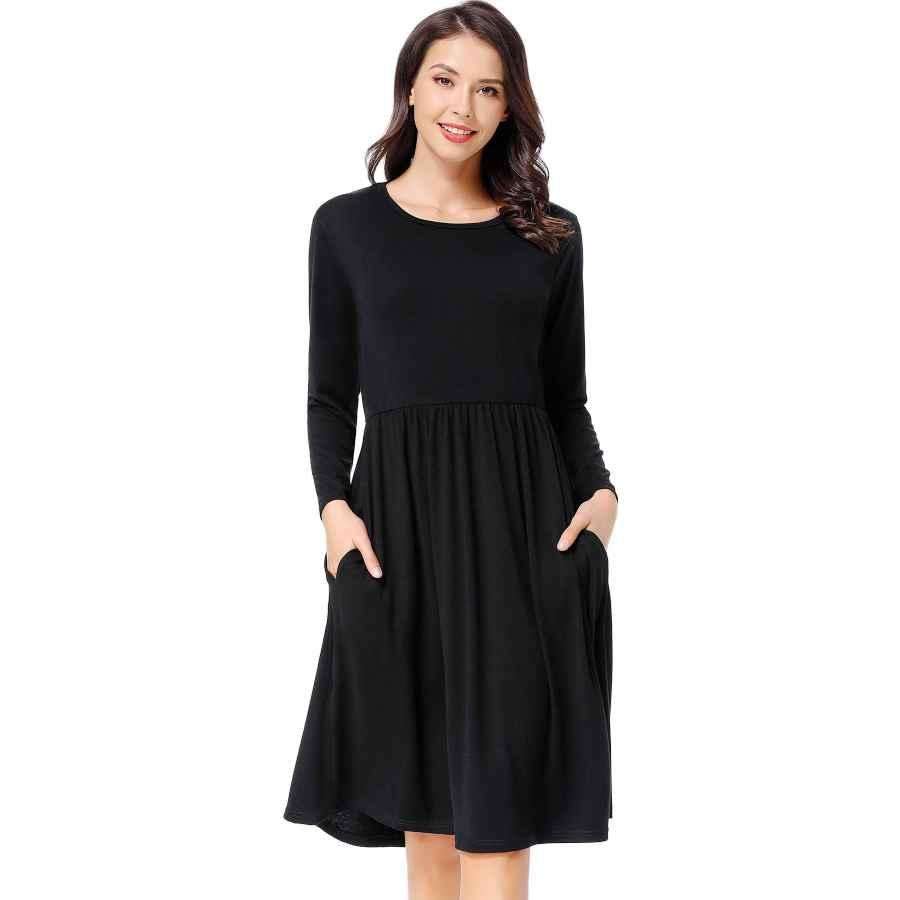 Womens Casual Dresses Women's Long Sleeve Pockets Winter Dress Casual Fall Midi Empire Waist Swing Dress