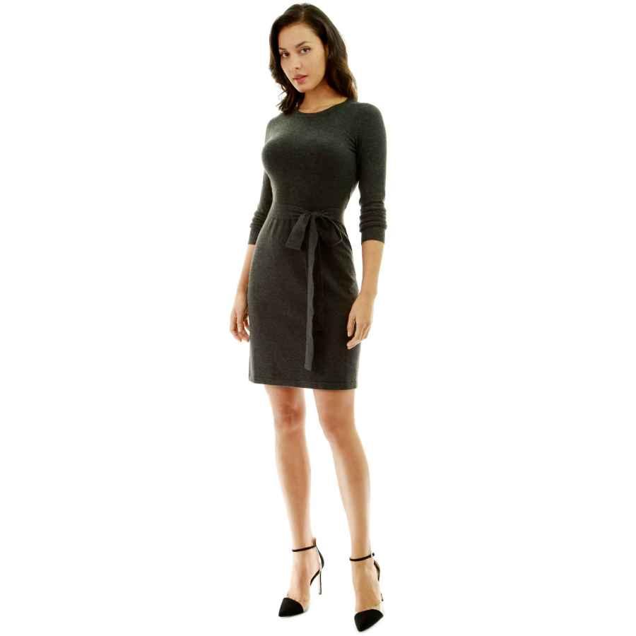 Womens Casual Dresses Pattyboutik Women Crewneck Long Sleeve Tie Sweater Dress